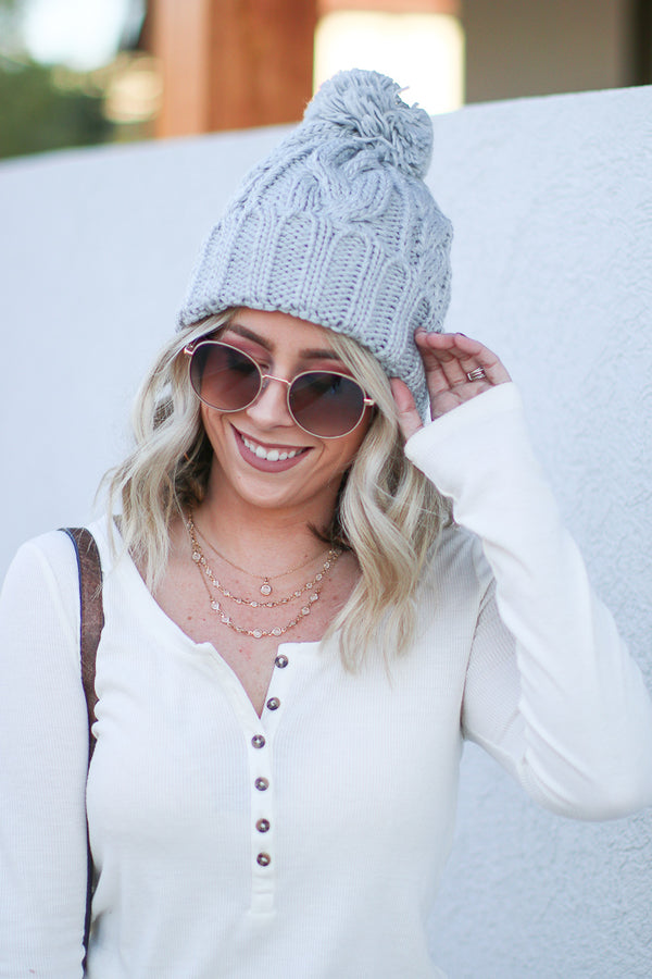 OS / Gray Cozy Times Cable Knit Beanie - Madison + Mallory