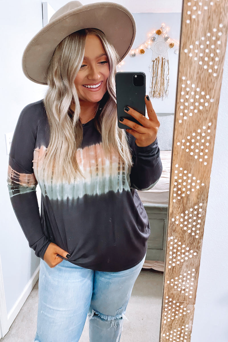 Charcoal / S Cultivated Style Tie Dye Top - Charcoal - Madison and Mallory