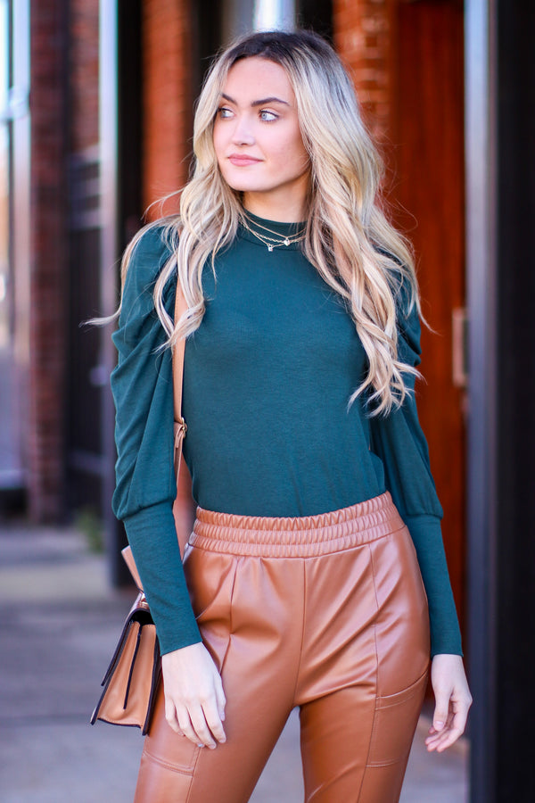 Hunter Green / S Jennilee Puff Shirred Sleeve Top - Madison and Mallory