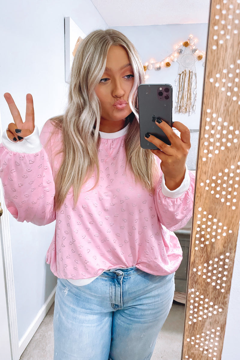 S / Blush Heart Song Printed Pullover - Madison and Mallory