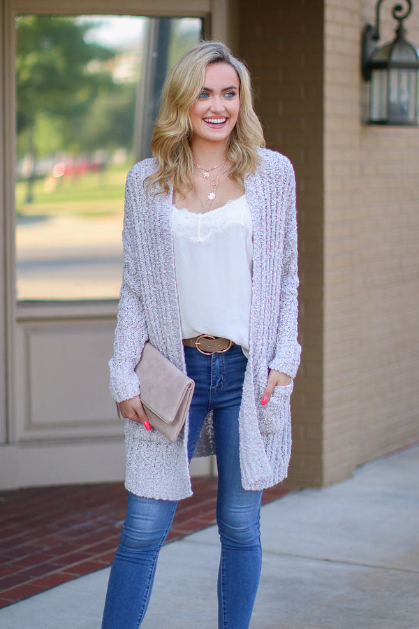 S / Pearl Gray Stay With Me Popcorn Knit Cardigan - FINAL SALE - Madison and Mallory