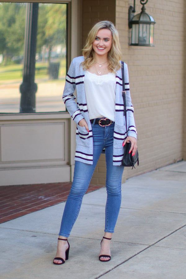 More Than a Memory Striped Knit Cardigan - Madison + Mallory