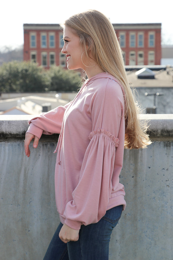 Ruffle Sleeve Sweatshirt - Madison + Mallory