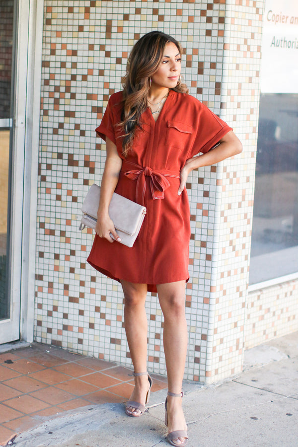 S / Brick Tallulah V-Neck Shirt Dress - Brick - Madison + Mallory