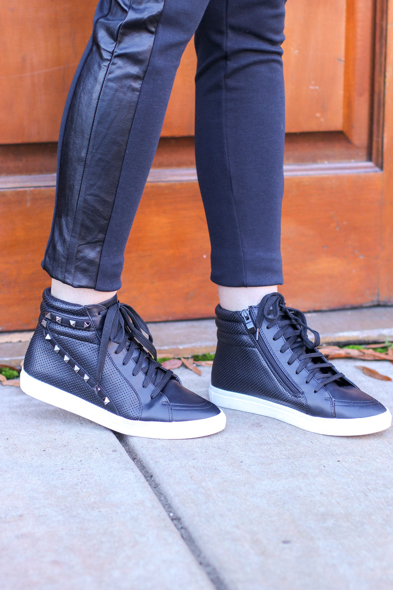Black / 5 Lex Studded High Top Wedge Sneakers - Madison and Mallory