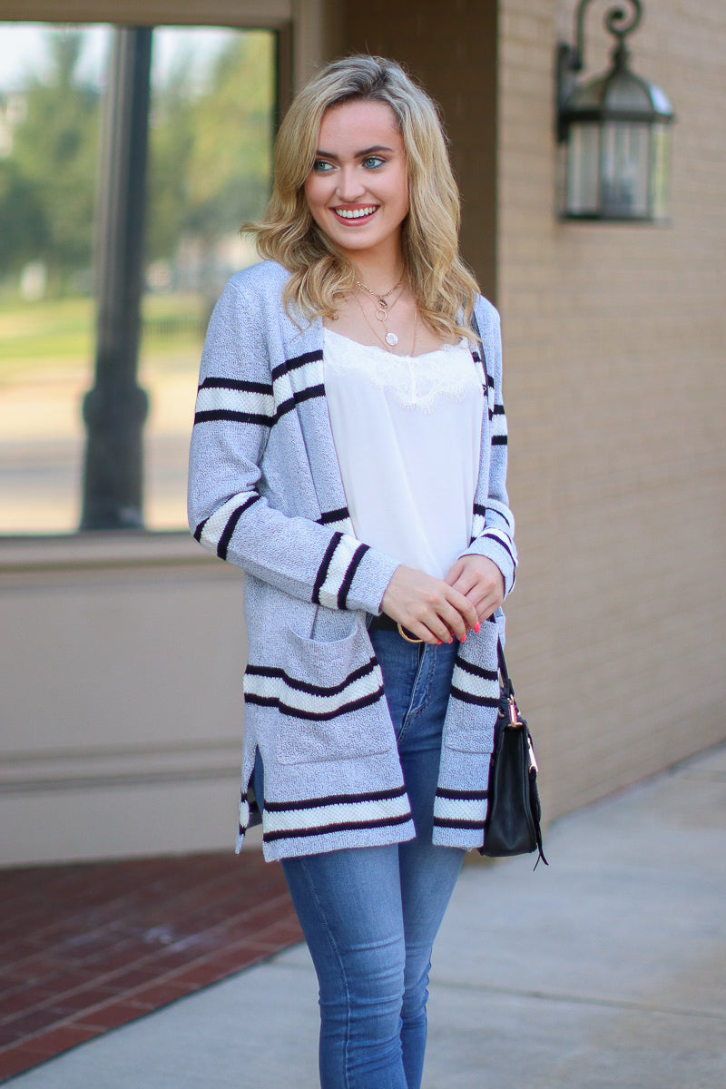 S / Gray More Than a Memory Striped Knit Cardigan - FINAL SALE - Madison and Mallory