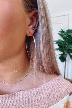 Gold Round Here Hammered Hoop Earrings - Madison and Mallory