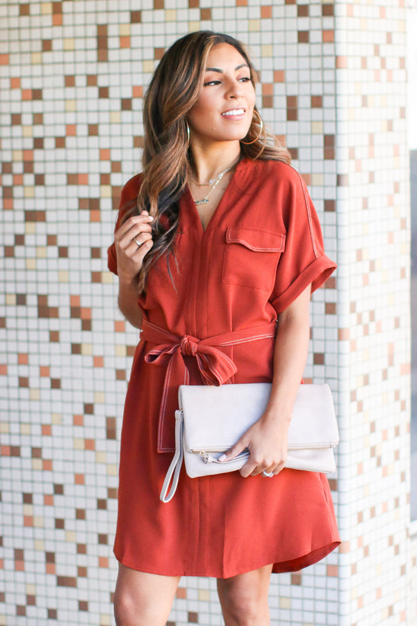 Tallulah V-Neck Shirt Dress - Brick - Madison and Mallory