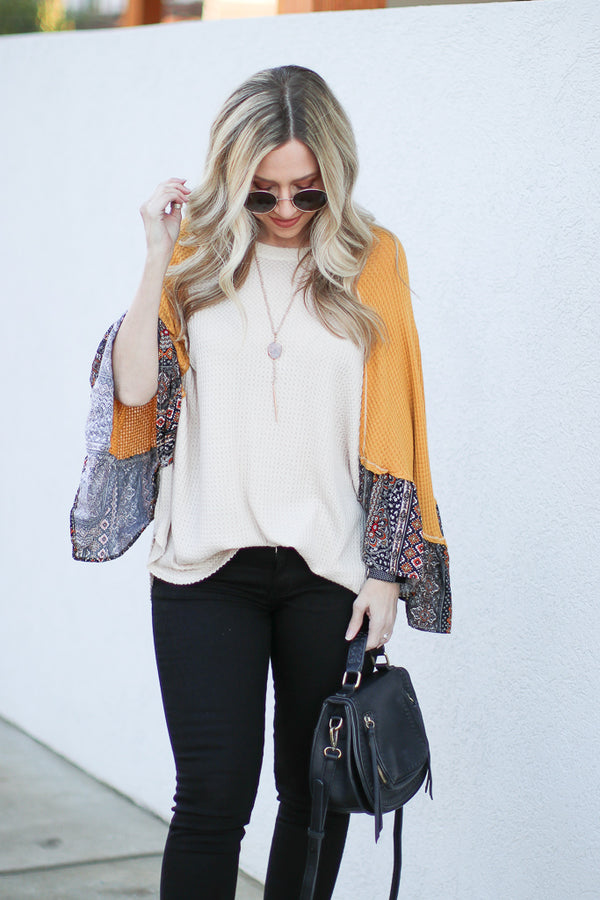 S / Mustard Brianne Printed Sleeve Top - Madison + Mallory