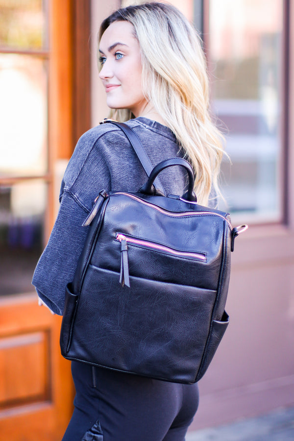 Black Sidewalk Stunner Faux Leather Convertible Backpack - Madison and Mallory