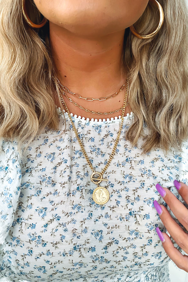 Gold Dash of Finesse Coin Layered Toggle Necklace - Madison and Mallory