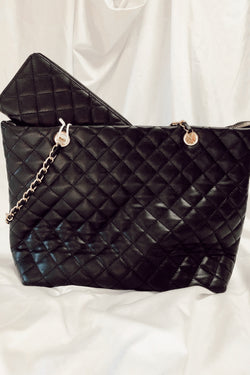 Black Chic Street Quilted Shopper Bag and Wallet Set - Madison and Mallory