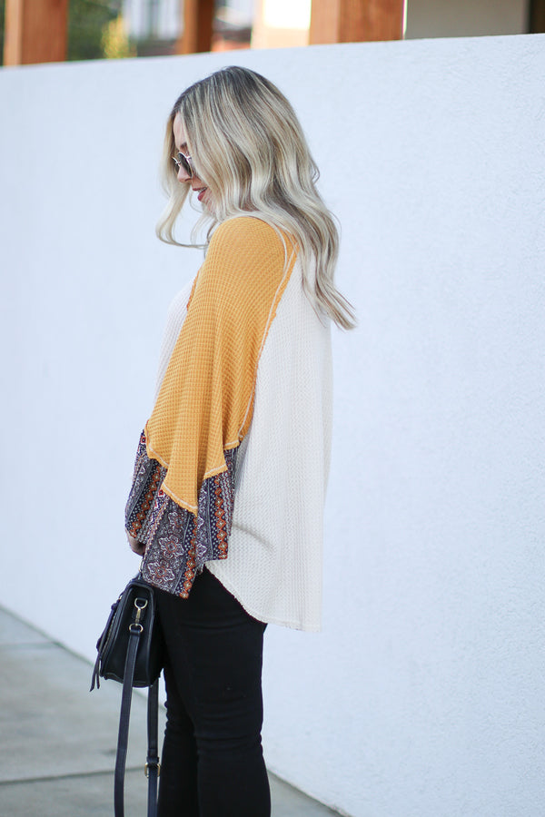 Brianne Printed Sleeve Top - Madison + Mallory