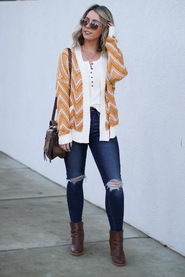 *DOORBUSTER* Cheryl Chevron Knit Cardigan - Mustard - Madison + Mallory