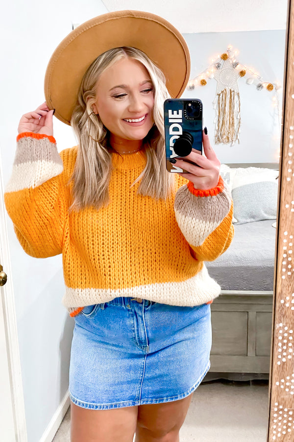 S / Sunkist Good Karma Color Block Knit Sweater - Madison and Mallory