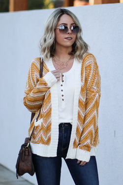 Cheryl Chevron Knit Cardigan - Mustard - Madison + Mallory