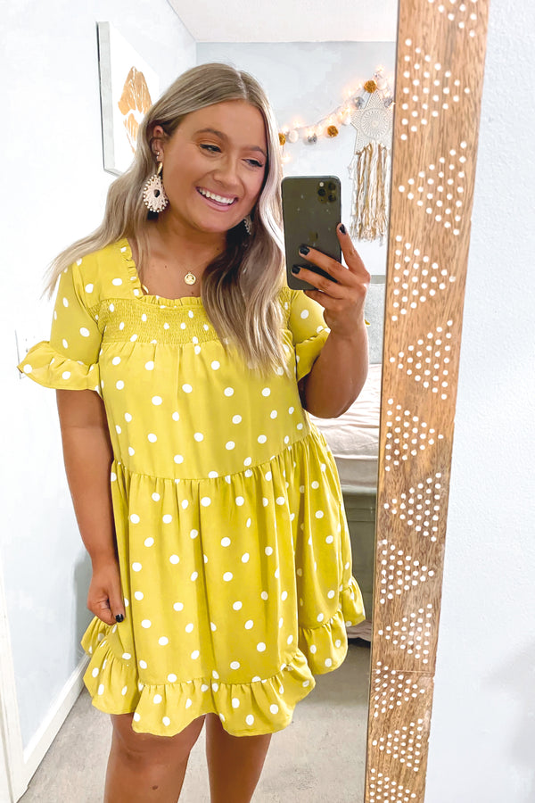 Dijon / S First Thought Polka Dot Babydoll Dress - Dijon - Madison and Mallory