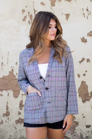 Pulled Together Plaid Blazer - Madison + Mallory