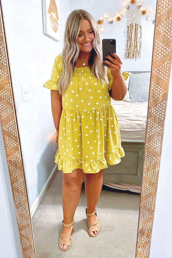 First Thought Polka Dot Babydoll Dress - Dijon - Madison and Mallory