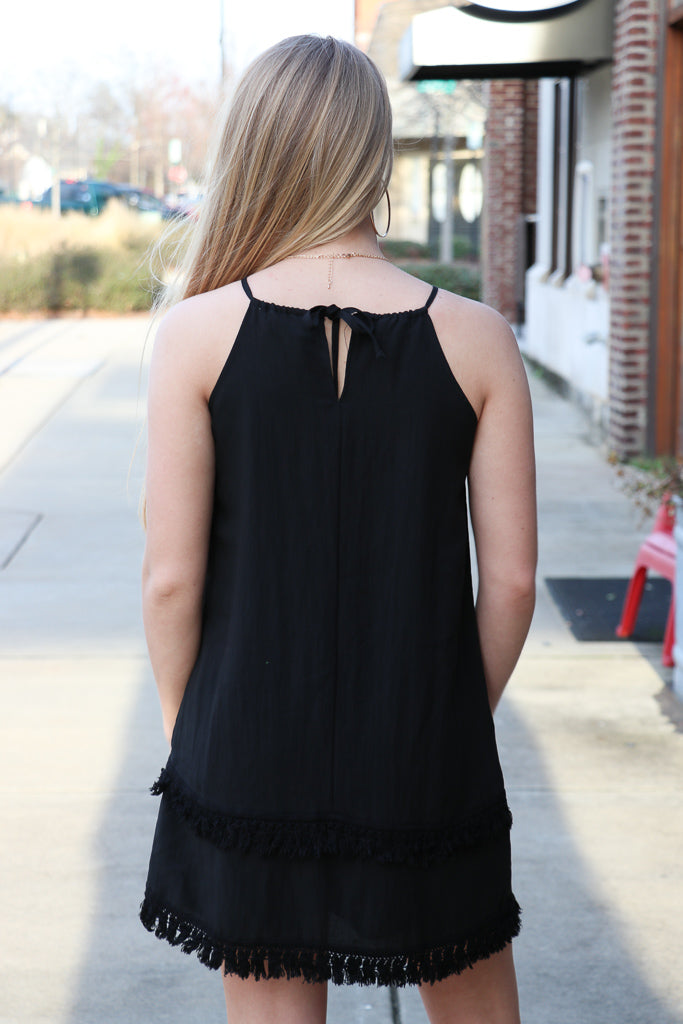 Tassel Trim Black Dress - Madison + Mallory