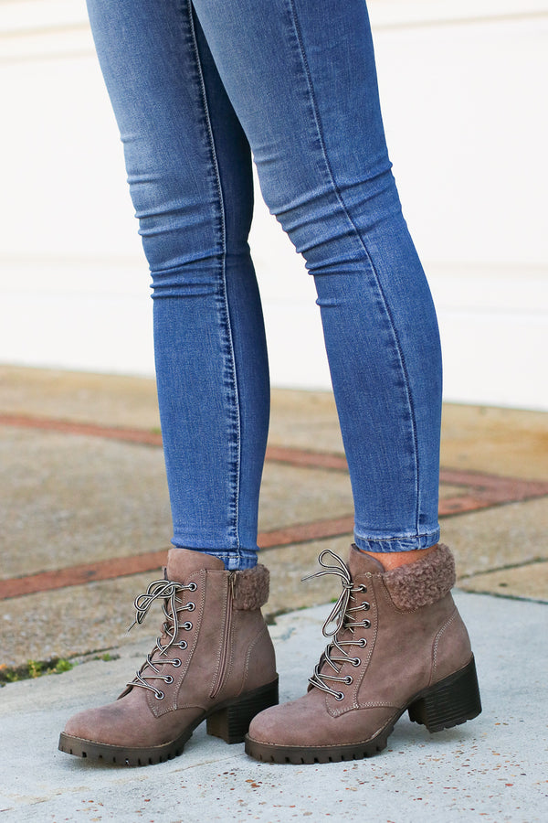 Moving Forward Shearling Booties - Madison + Mallory