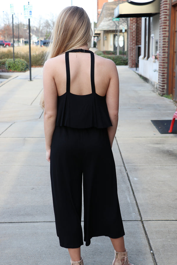 Lace Up Ruffle Jumpsuit - Madison + Mallory
