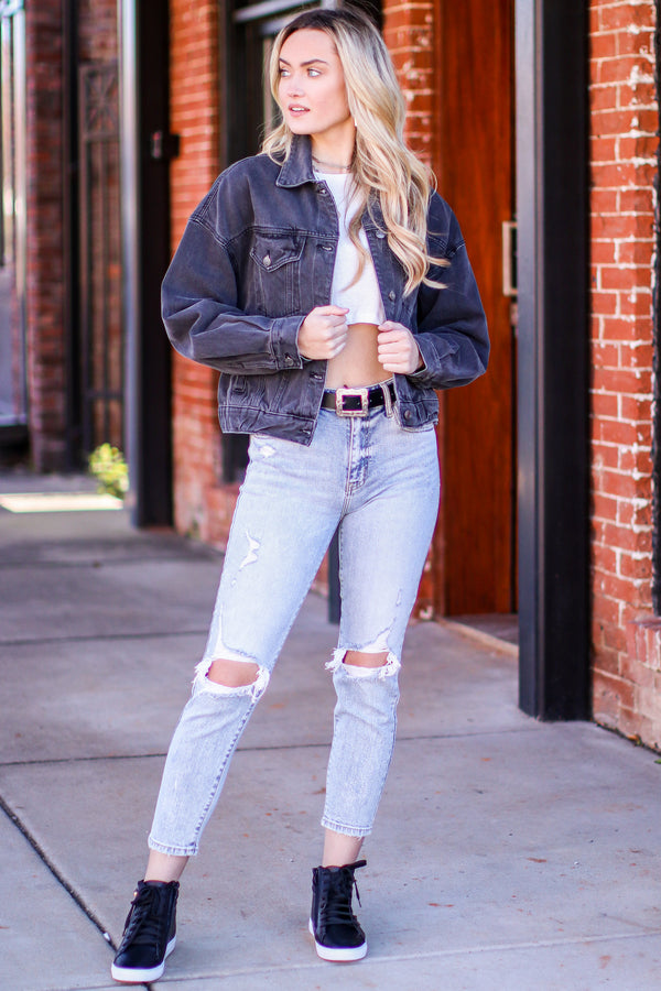 Justice Oversized Denim Jacket - Madison and Mallory