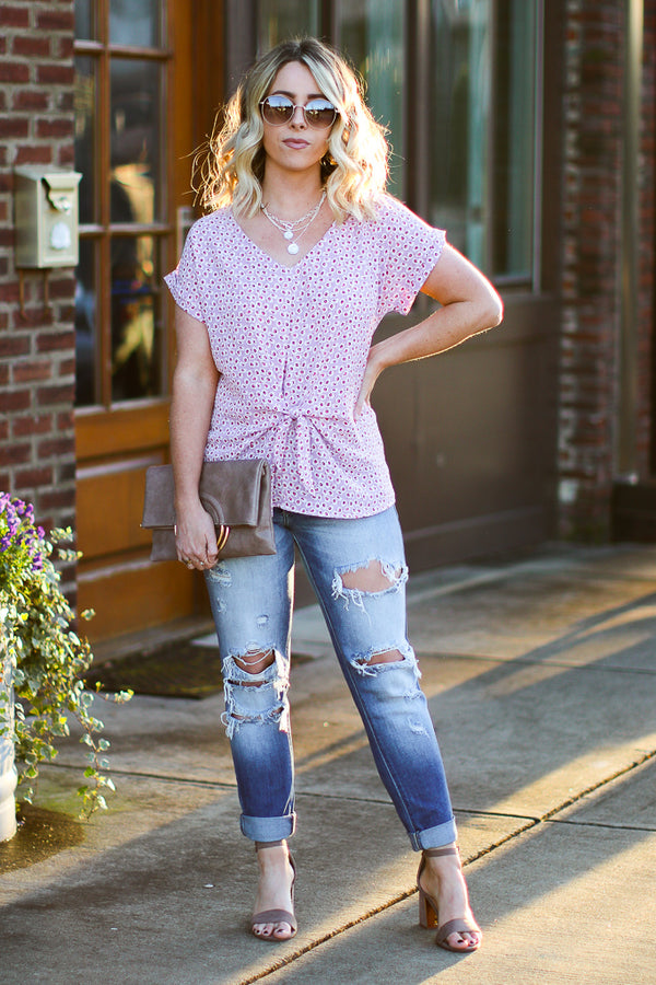 S / Lavender Feeling Ready Floral Tie Front Top - Madison + Mallory