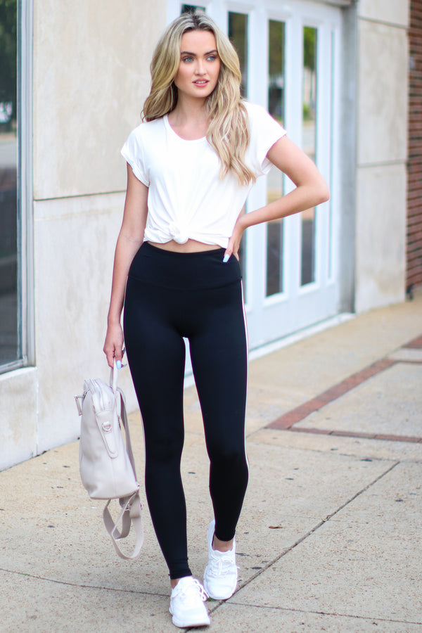 Chillax Side Stripe High Waist Leggings - FINAL SALE - Madison and Mallory