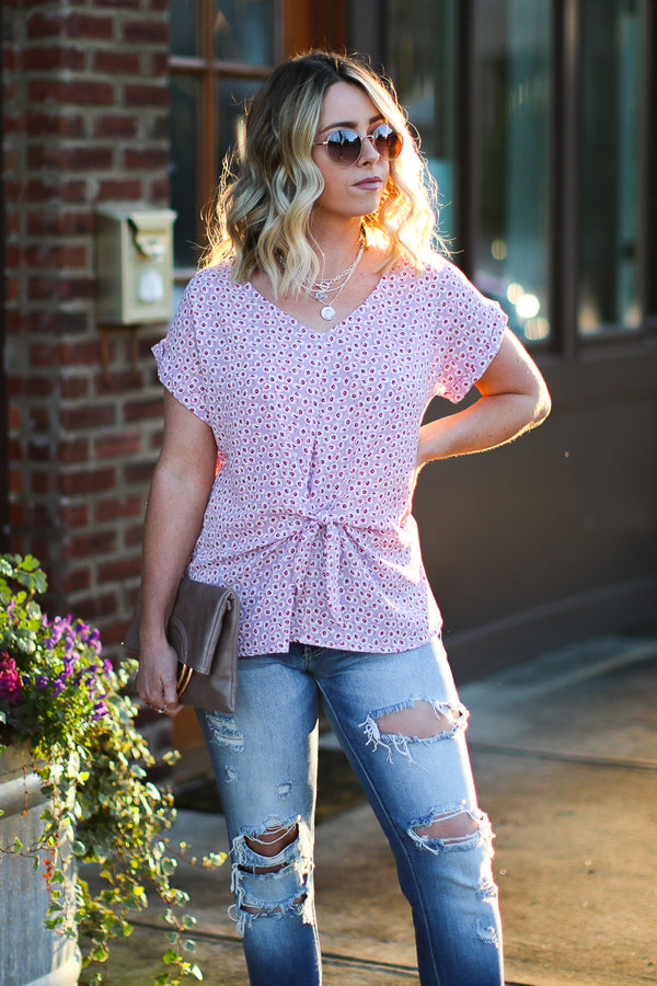 Feeling Ready Floral Tie Front Top - Madison + Mallory
