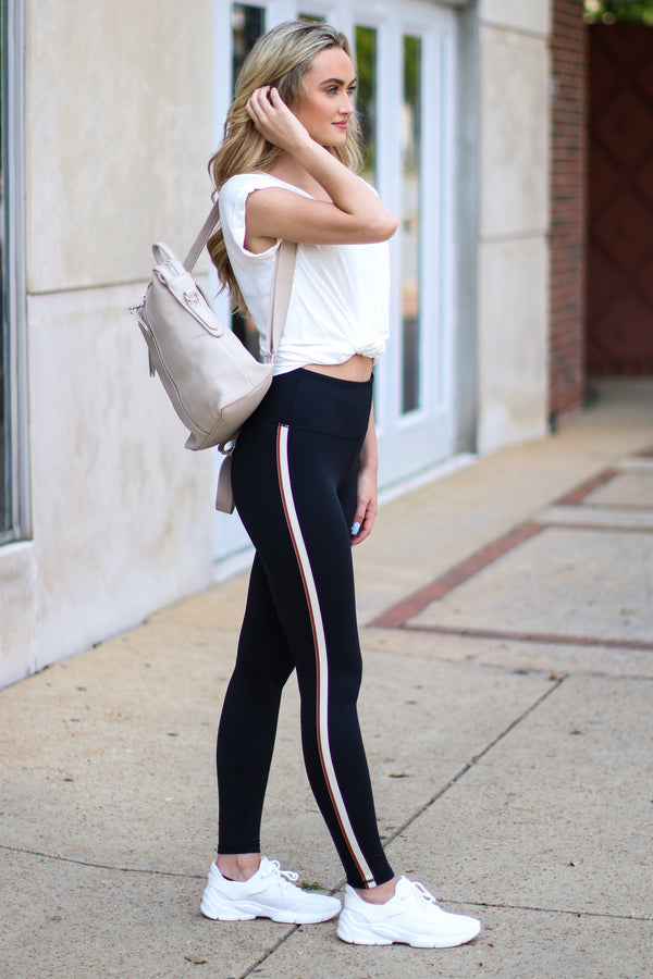 S / Black Chillax Side Stripe High Waist Leggings - FINAL SALE - Madison and Mallory
