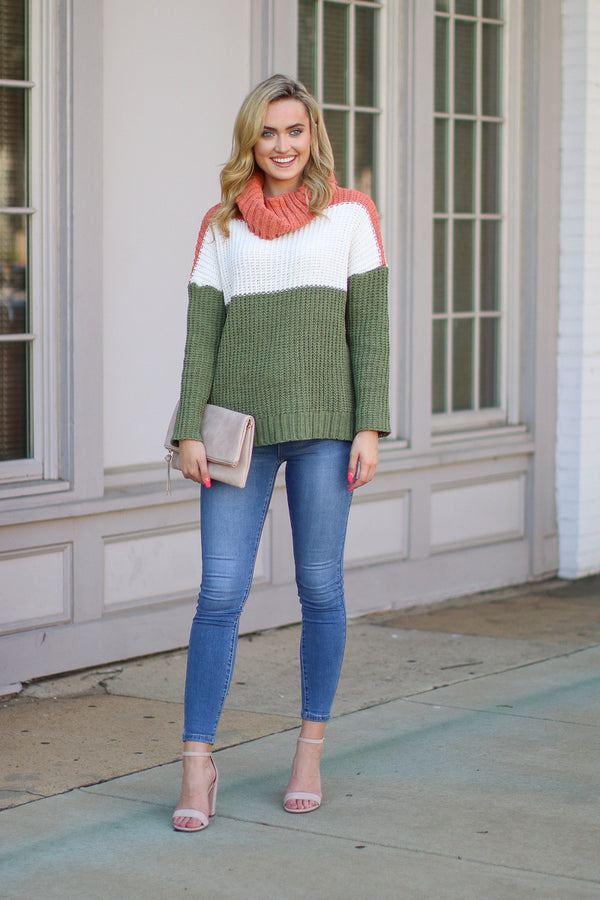 All She Wrote Chenille Cowl Neck Sweater - Olive - FINAL SALE - Madison + Mallory