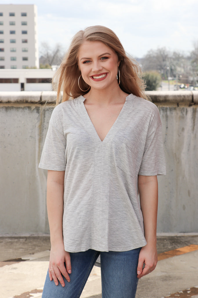 S / Gray Short Sleeve V-Neck Knit Top - Madison + Mallory