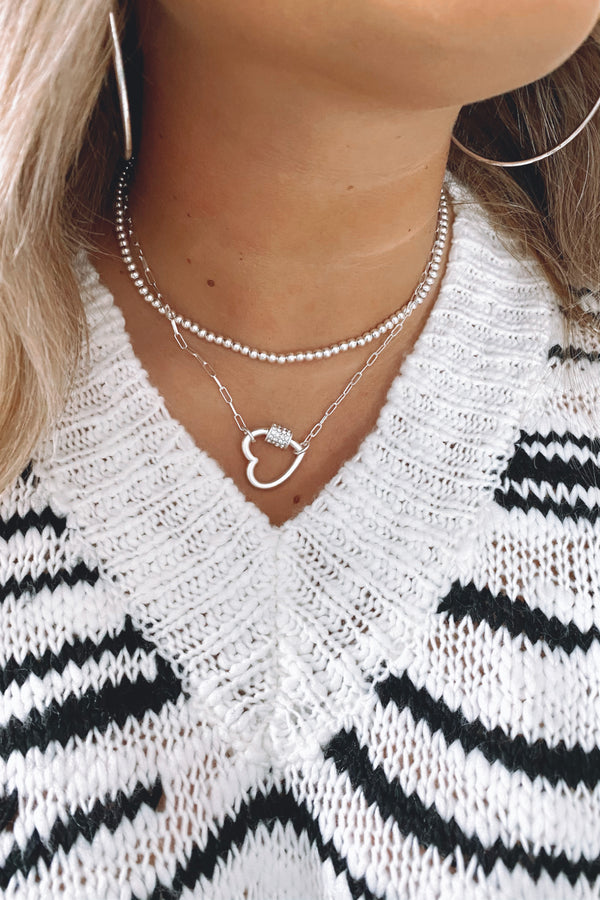 Silver Linked by Love Heart Layered Necklace - Madison and Mallory