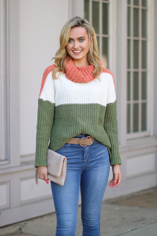 Olive / S All She Wrote Chenille Cowl Neck Sweater - Olive - FINAL SALE - Madison + Mallory