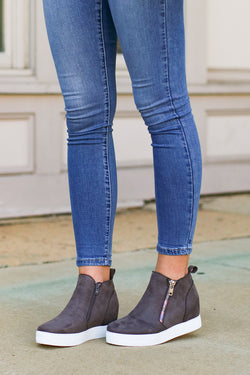 7 / Gray On the Rise Wedge Sneakers - Madison + Mallory