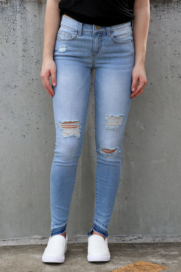 1 / Md. Light Amanda Angle Hem Jeans - FINAL SALE - Madison + Mallory