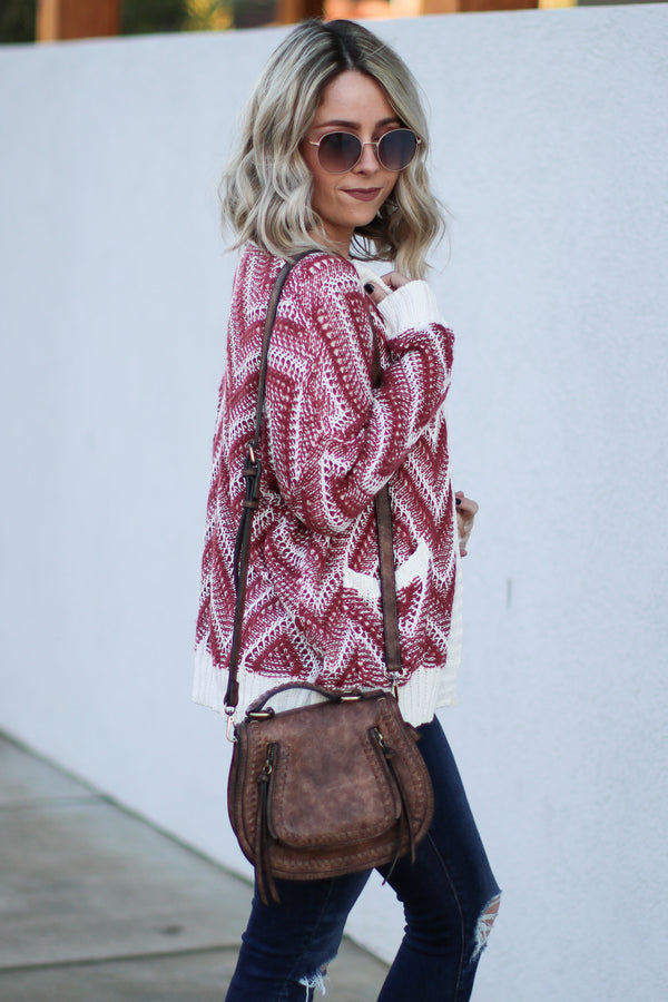 *DOORBUSTER* Cheryl Chevron Knit Cardigan - Plum - Madison + Mallory