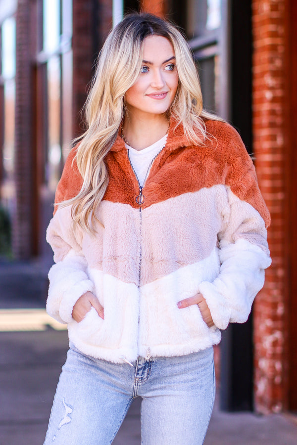 S / Chestnut Warm Me Up Color Block Fur Jacket - Madison and Mallory
