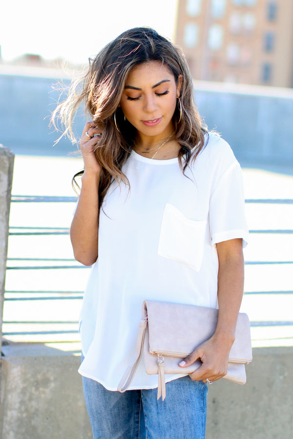 White / S Absolutely Essential Short Sleeve Top - White - Madison and Mallory