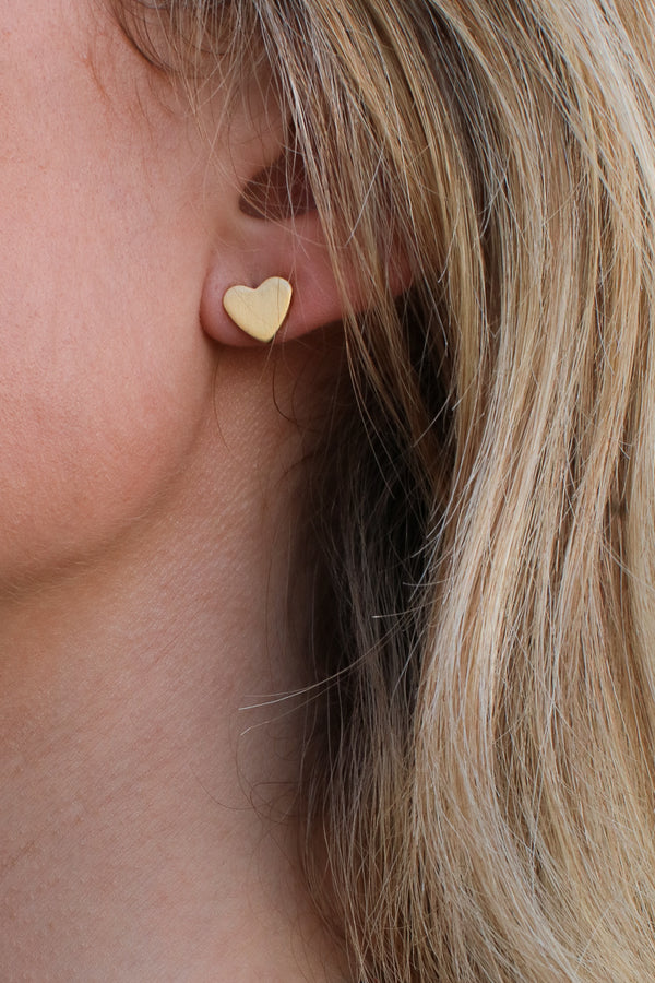 Gold Love Like Mine Heart Stud Earrings - Madison + Mallory