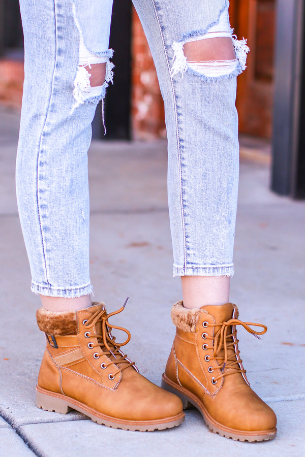 Camel / 6 Athena Faux Fur Lace Up Combat Boots - Madison and Mallory