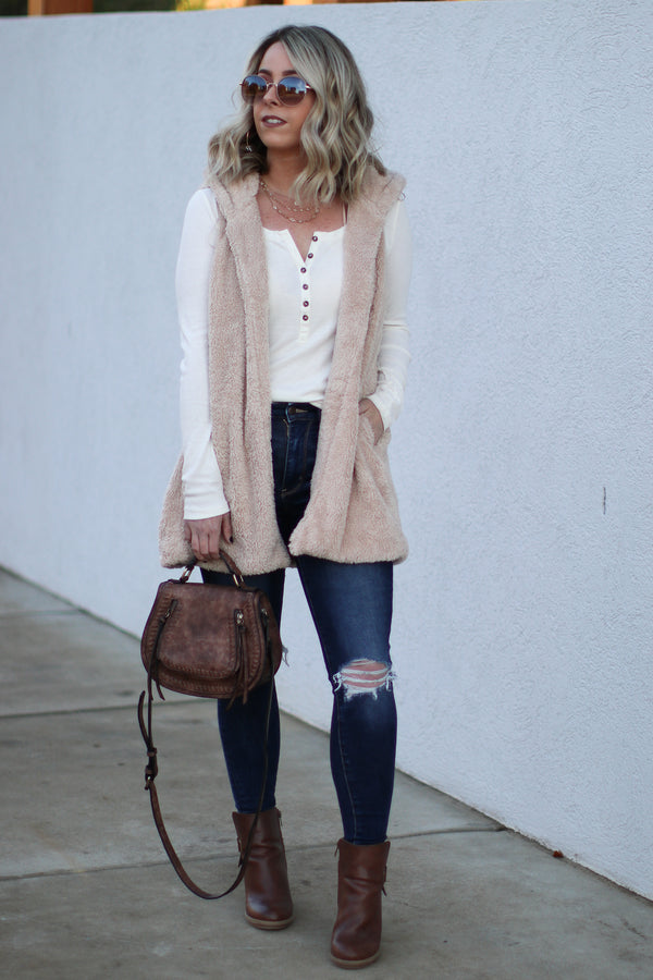 Janina Faux Fur Vest - Taupe - Madison + Mallory
