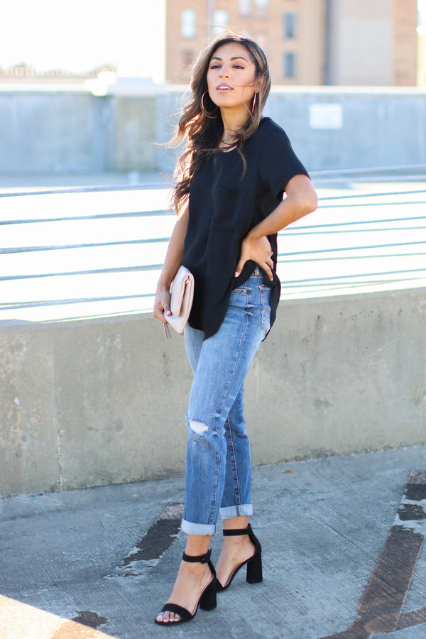 Absolutely Essential Short Sleeve Top - Black - Madison and Mallory