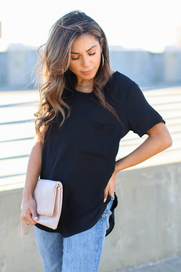 Black / S Absolutely Essential Short Sleeve Top - Black - Madison + Mallory