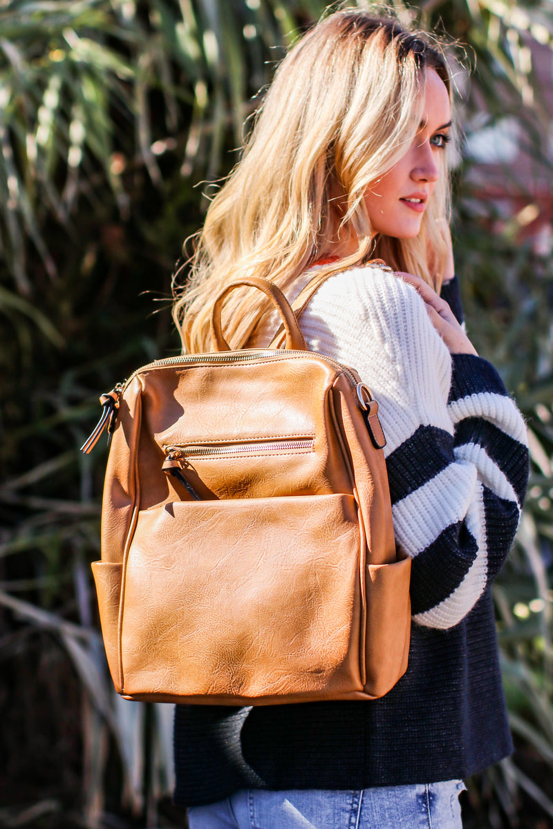Tan Sidewalk Stunner Faux Leather Convertible Backpack - Madison and Mallory