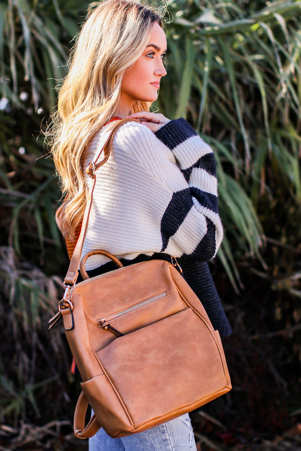 Sidewalk Stunner Faux Leather Convertible Backpack - Madison and Mallory