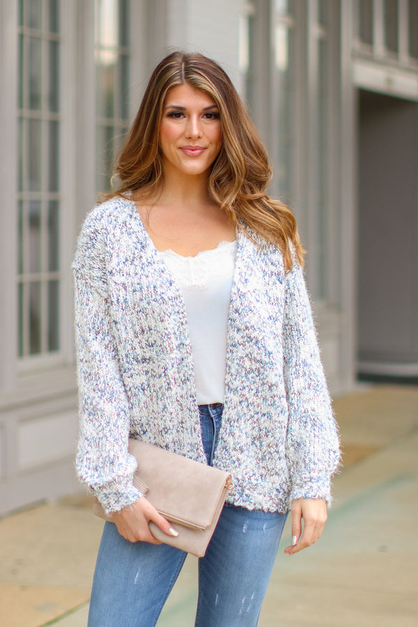 Blue Haze / S You're Welcome Multi Knit Cardigan - Blue Haze - Madison and Mallory