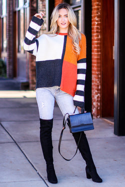 S / Poppy Redwoods Color Block Striped Sweater - Madison and Mallory