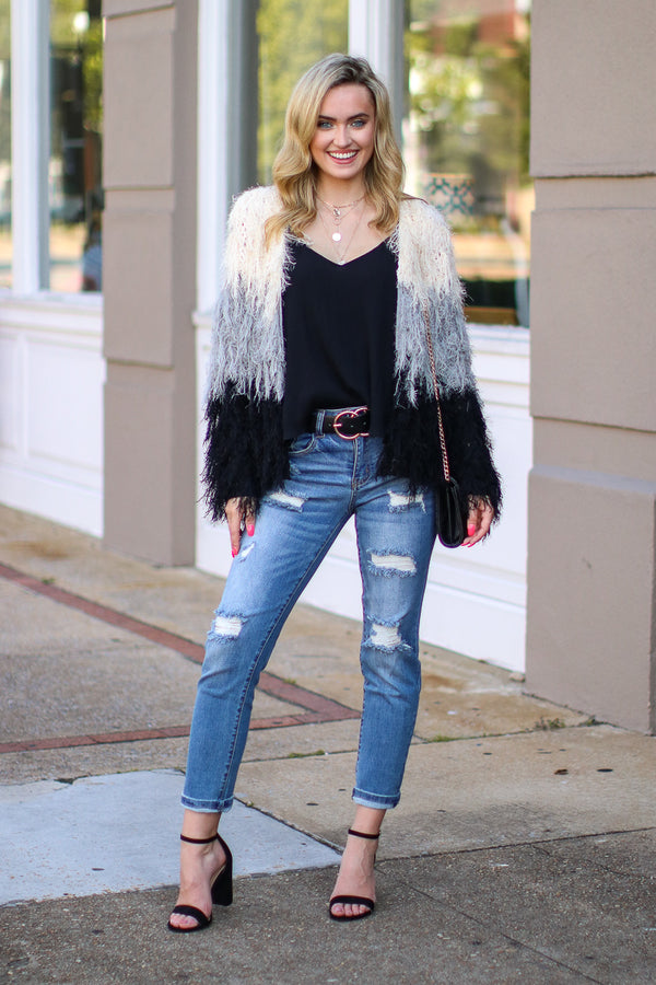 Moonlight Crush Color Block Fringe Cardigan - FINAL SALE - Madison and Mallory